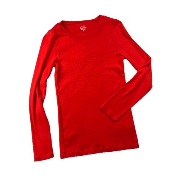 J. Crew Tops - J. Crew Red Long Sleeve Slim Perfect Fit Tee M407